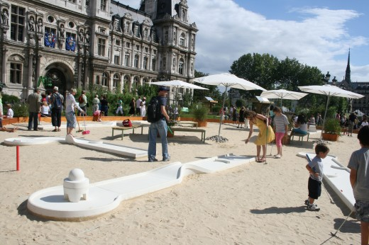 Mini golfing at Place des Vosges, Paris